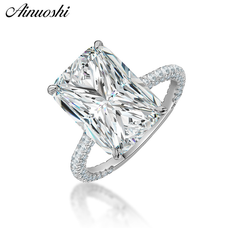 AINOUSHI Fashion 925 Sterling Silver Wedding Engagement Big Rectangle Rings Silver Anniversary Party Rings Jewelry pero
