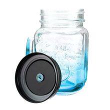 New Hot Fashionable Vintage Mason Glass Drinking Jar Bottles Cup 500ML/17oz, Blue