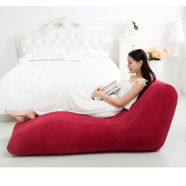 155cmx89cmx65cm Inflatable Air Bean Bag Chair Flocking PVC Good Quality S Shape Love