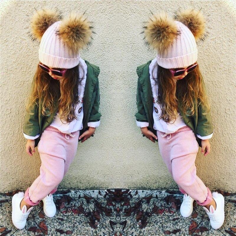 Winter Real Fur Ball Beanie Hat for Women Fluffy Raccoon Fur Pom Poms Skullies Beanies Hat