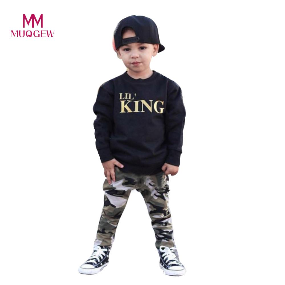 Child Boys Clothes Set Long Sleeve Letter Print T-shirt Tops+Camouflage Pants Outfits Clothes Set For 1-5 Years Olds Kids Boys men letter print side pants
