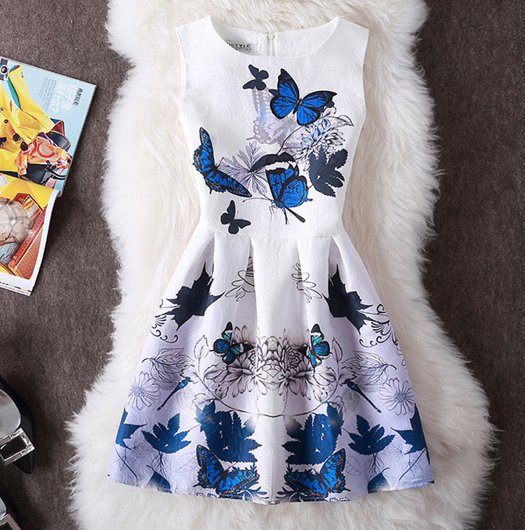 2018 Brand New Women's Fashion Clothing Kontor Lady Summer Dress Sexig Party Ärmlös Vintage Print En Line Vest Dress Vestidos