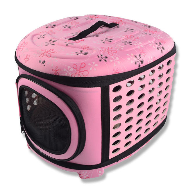 Dogs Cats Travel Bag Folding Small Pets Carrier flower print Travel Cage Collapsible Crate Tote Handbag Big Size