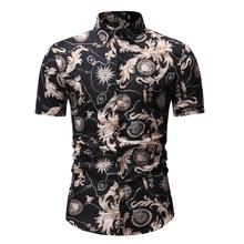 Hawaiian Shirt Men Casual Short-sleeved Slim fit Fashion Flower Floral Blouse Black