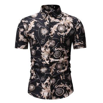 Hawaiian Shirt Men Casual Short-sleeved Slim fit Fashion Flower Shirt Floral Blouse Men Black floral shirt summer flower social shirt for men hawaiian beach style blouse men s clothing fashion slim fit new