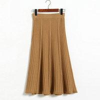 Autumn new knit half-length skirtS women long section high waist wide a word skirt elegant retro pleated skirt 8205