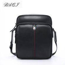 BAQI Brand Men Handbags Shoulder Bag Genuine Leather Cowhide High Quality 2019 Fashion Men Crossbody Messenger Bags Casual Bag