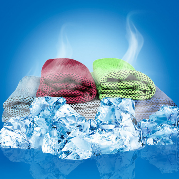 2018 többszínű 90 * 30 cm-es jég törölköző segédeszköz Tartós azonnali hűtés törülközőhő hővisszanyerése újrahasznosítható hideg hűtő törülközővel