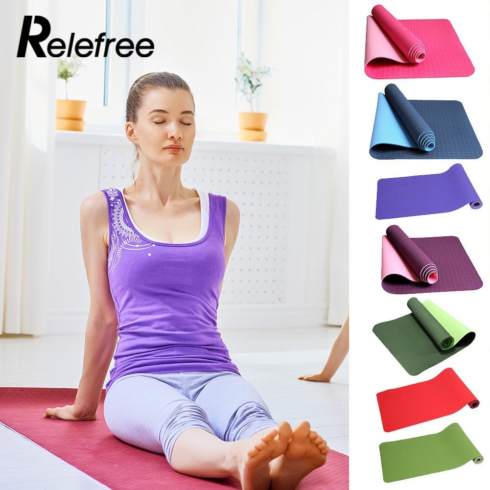 Double couleur TPE mousse tapis de Yoga exercice Gym Fitness Pilates Physio gymnastique
