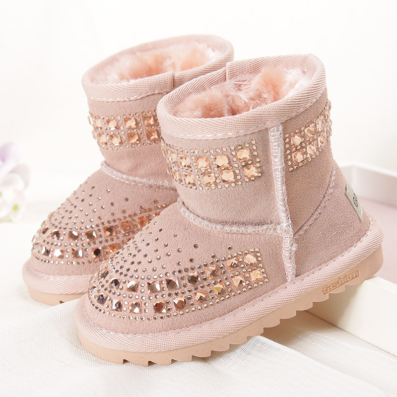 2017 Winter new children snow boots reihnstone kids genuine leather rubber boots warm shoes with fur princess  baby girls boots kids shoes girls winter diamond bow toddler pu shoes children trainers baby shoes infantil princess warm shoes chaussure enfant