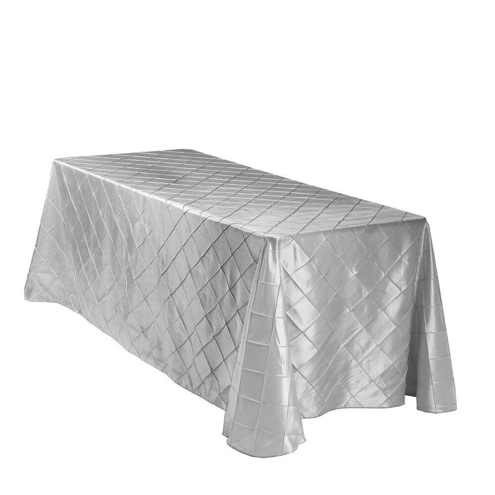 Rectangle Pintuck taffetas nappe de mariage fête Banquet décoration 10 pièces/pack 90