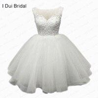 Short Wedding Dress Sheer Neckline with Appliques Above knee