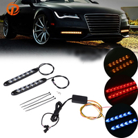 POSSBAY Car DRL Turn Signal White/Amber//Ice Blue/Red Switchback Arrow Flowing Dynamic Flexible LED Daytime Running Lights