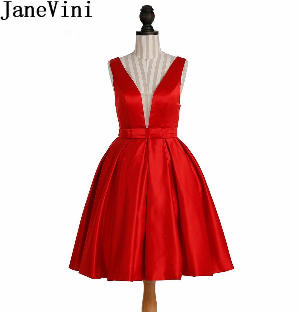 JaneVini Vestidos Cortos Red Homecoming   Dress   Short Satin Deep V Neck 2018 Illusion Back   Bridesmaid     Dresses   For Women Party Prom