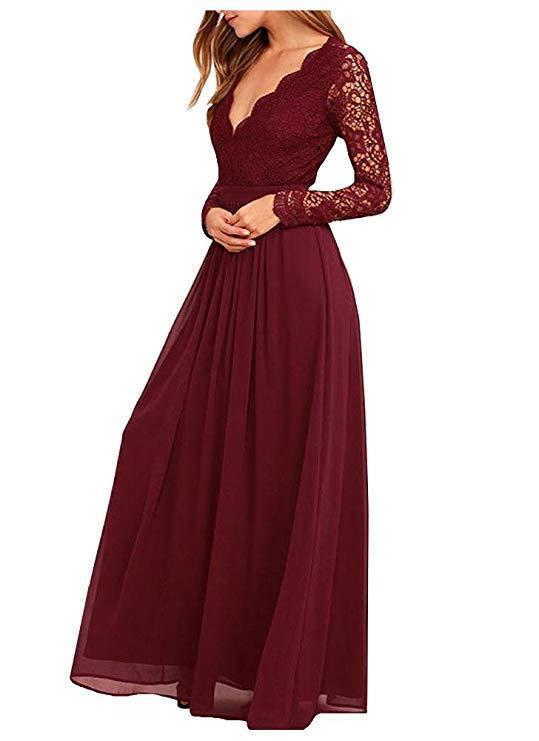 U-SWEAR 2019 Elegant Long Sleeves Bridesmaid Dresses V-Neck Lace Chiffion Purple Dress  Wedding Party Gowns Cheap Plus Size