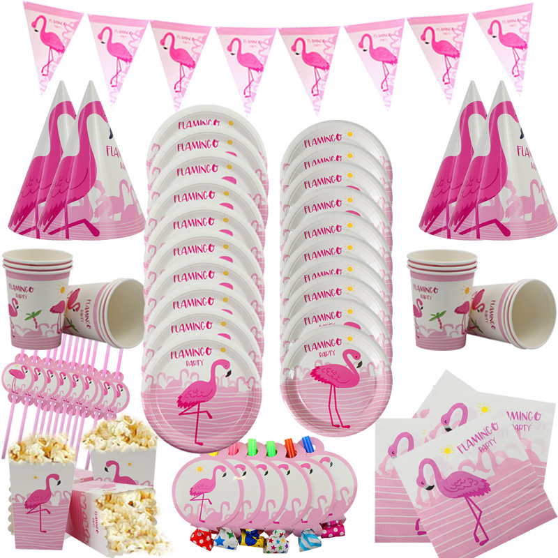 Us 1 17 12 Off Summer Flamingo Theme Party Decor Pink Flamingo Disposable Tableware Kit Bachelorette Party Birthday Party Decoration Kids Favor In