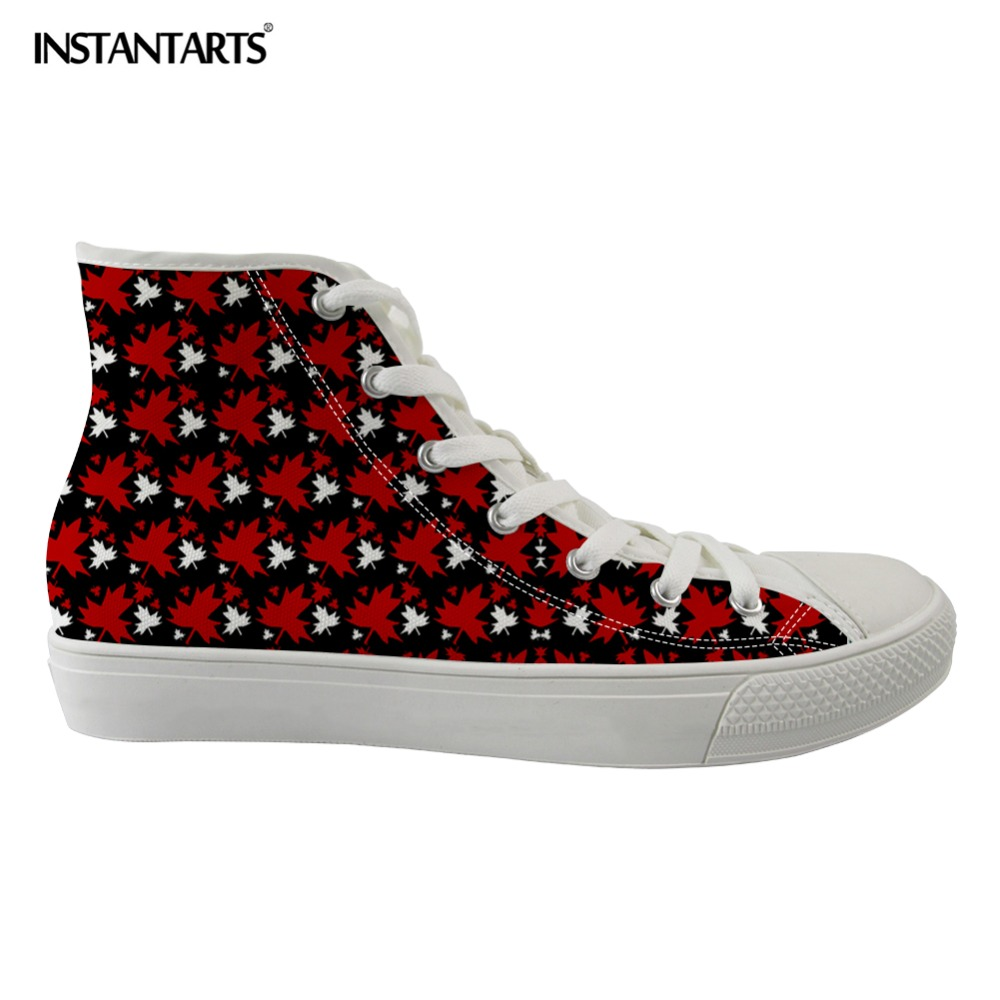 INSTANTARTS Automne Feuilles D'érable Dames Toile Chaussures Marque Conception Respirant Femmes Lace Up High Top Appartements Chaussures Casual Sneakers