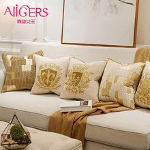 Avigers Luxury Embroidery Cushion Cover Velvet European Pillow Cover Gold PillowCase Geometry Home Decorative Sofa Throw Pillow(China)