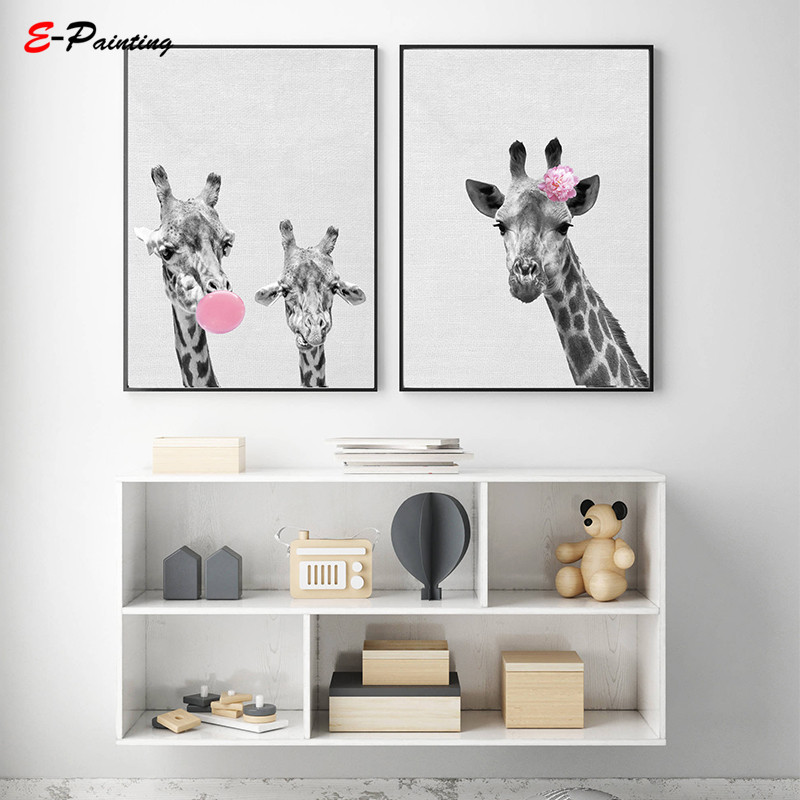 Bubble Gum Giraffe Prints Nursery Girl Bedroom Wall Art Decor Poster Cute  Animal Cavas Painting Picture