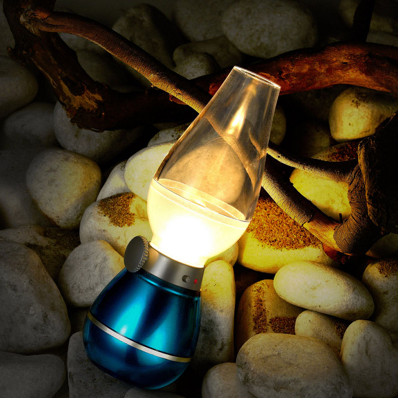 Vintage 0.4W Novelty Blow Control Oil Lamp LED Night Lamp Safe USB Rechargeable