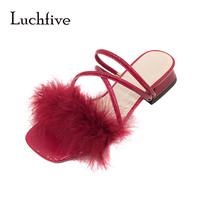 Block Heel Feather Sandals 2019 Summer Sweet Girl's Red Strappy Sandals Bohemian Shoes Women