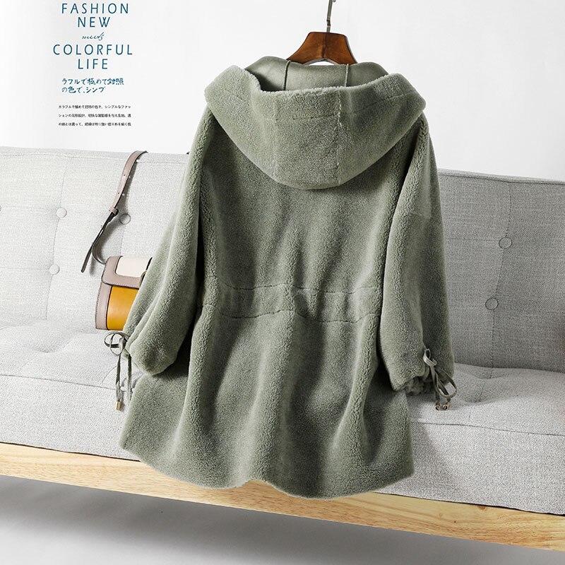 Réel Blue rice Camel Capuchon Femmes 2018 À Vêtements 100Laine Veste Fourrure De green Manteau Hiver Mouton Coréen Qualité Élégant Supérieure DHIYeE9W2b
