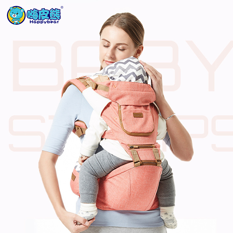 Portadores ergonômicos respirável mochila portátil infantil bebê canguru hipseat montes com saco lateral suga almofada bebê sling envoltório 1608