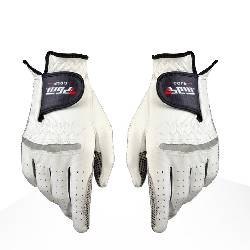 Golf Gloves Mens Golf Anti-slip Design Genuine Leather Gloves Left and Right Hand Breathable Sports Gloves