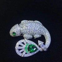 Унисекс 925 серебро с фианит ящерица брошь, Заколки для женщин и мужчин ювелирные изделия моды драгоценность бесплатная доставка
