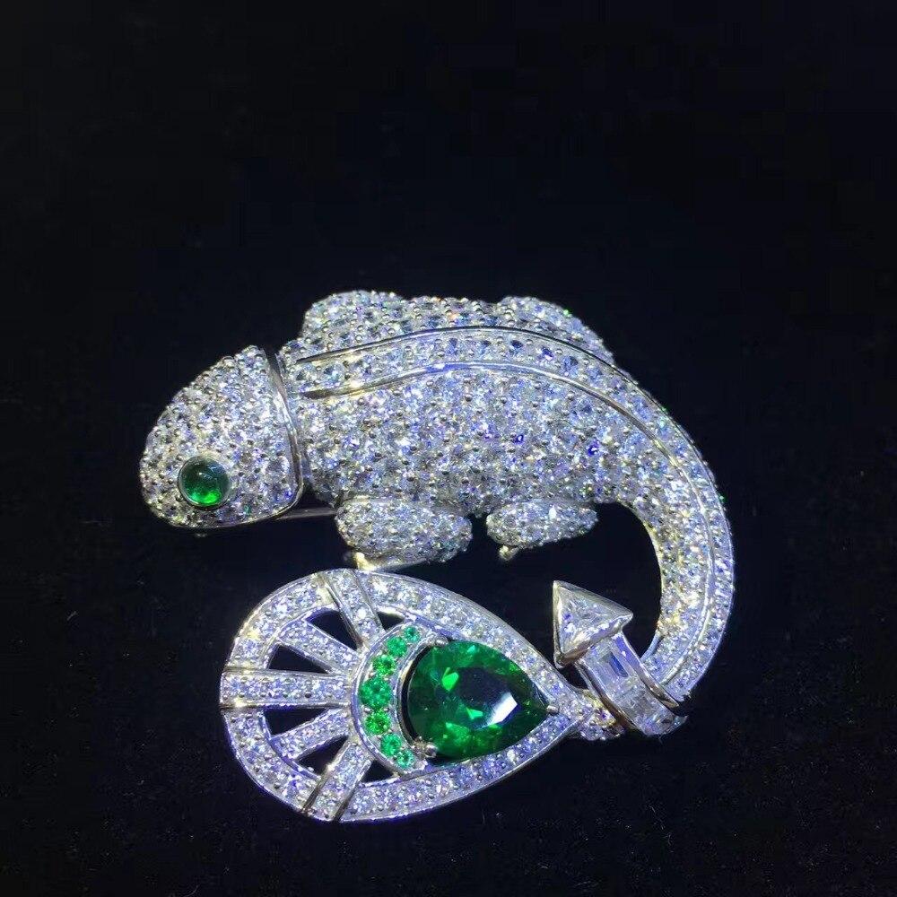 Unisexe 925 argent sterling avec zircon cubique lézard broche broches pour femmes et hommes bijoux mode bijoux livraison gratuite
