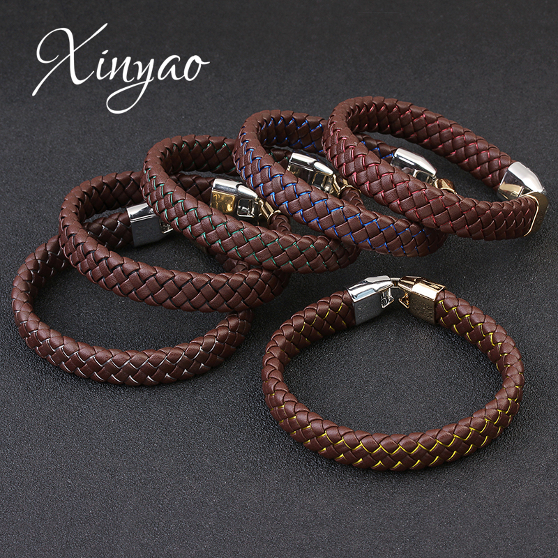 XINYAO 2017 New Handmade PU Braided Wrist Band Leather Rope Chain Bracelet Men Wristband Luxury Mens Hand Bracelets Male Pulsera