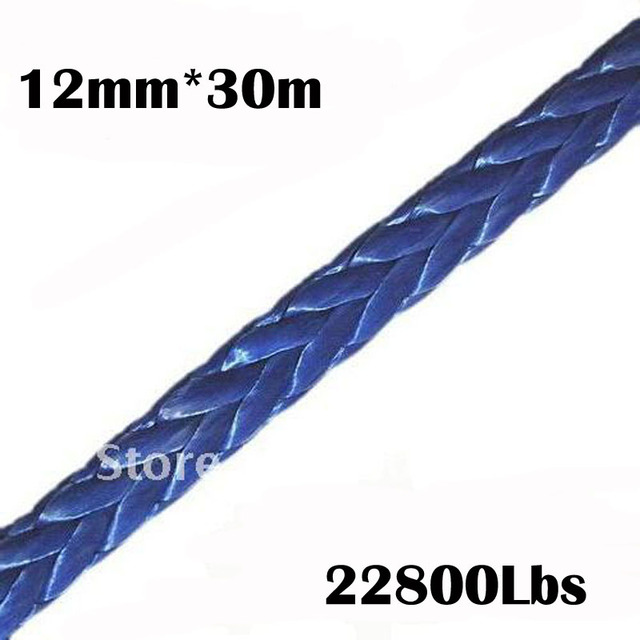 New Strong 100% UHMWPE Synthetic Winch Cable/Rope 12MM*30Meter for 4WD/ATV/UTV/SUV Winch Use////free shipping