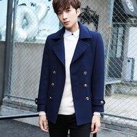 2017 새로운 남성 더블 브레스트 모직 짧은 재킷 코트 남성 신사 패션 캐주얼 재킷, 남성 단색 옷깃 재킷