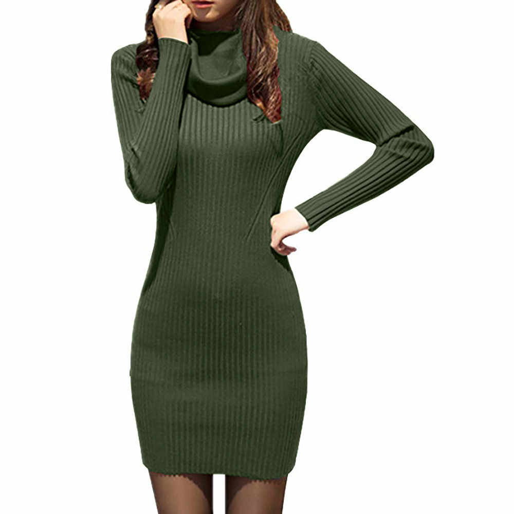 381b69da3ef Winter Dresses Women 2018 Cowl Neck Knit Stretchable Elasticity Long Sleeve  Slim Fit Sweater Dress