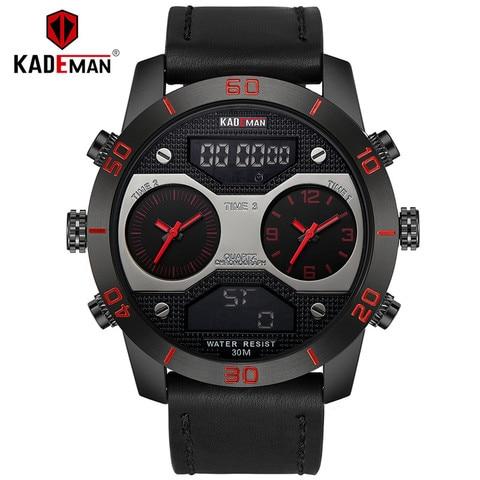 Horários dos Homens Marca de Luxo Relógios de Pulso à Prova Dial Kademan Dois Fusos Relógios Top Quartz Analógico Digital d' Água Relógio Masculino 158 Big