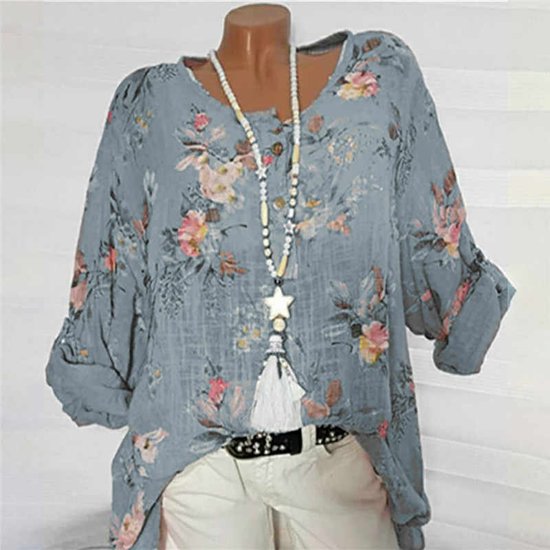 56d657f702 Womail 2019 New Blouse Ladies Round Neck Large Size Print Bat Sleeve  Cropped Sleeve Top Shirt