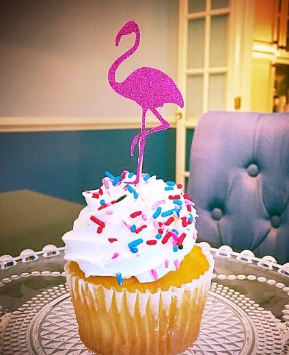 glitter flamingo luau hawaiian theme cupcake toppers birthday wedding bridal shower baby shower tea party foodpicks