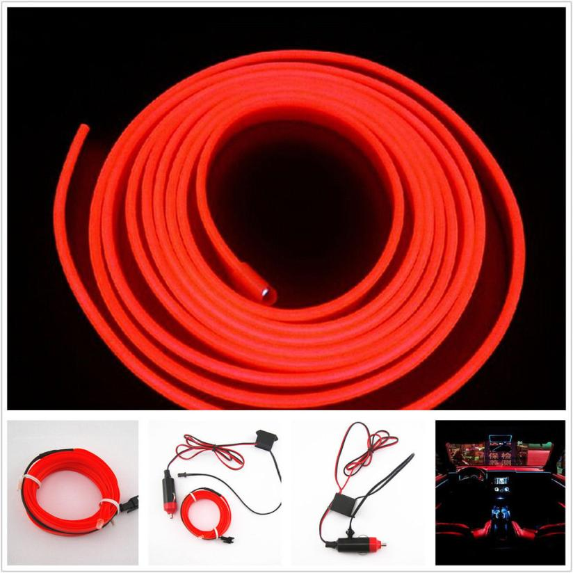 car styling 2m red el wire 12v car interior decor fluorescent neon strip cold light tape jn28 in. Black Bedroom Furniture Sets. Home Design Ideas