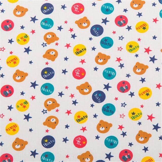 Mini Oso de dibujos animados impreso 100% tela de algodón para coser ...