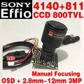 "High-End 1/3 ""Sony ПЗС-Сенсор Effio 4140 + 811 800tvl Analog hd Мини-чип модуль Мониторинга 2.8 мм-12 мм Ручная фокусировка OSD meun кабель"