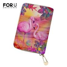 FORUDESIGNS Fashion Women Business PU Card Holder Girls Flamingo Cartoon Print Pattern Money Purses Bags Travel Wallets