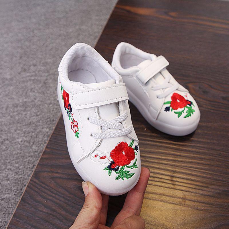 kwiatowy print PU skórzane buty dziecięce led świecące trampki - Obuwie dziecięce - Zdjęcie 4