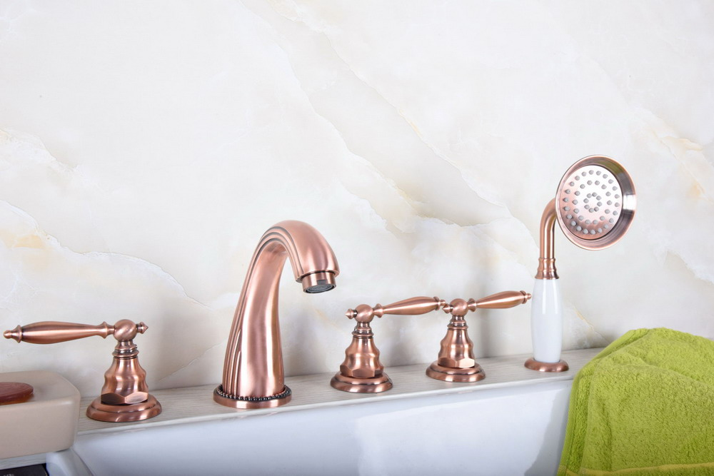 Antique Red Copper Brass Widespread 5 Hole Bathroom Roman Tub Bath Faucet with Telephone Style Hand Held Shower Head atf184Antique Red Copper Brass Widespread 5 Hole Bathroom Roman Tub Bath Faucet with Telephone Style Hand Held Shower Head atf184