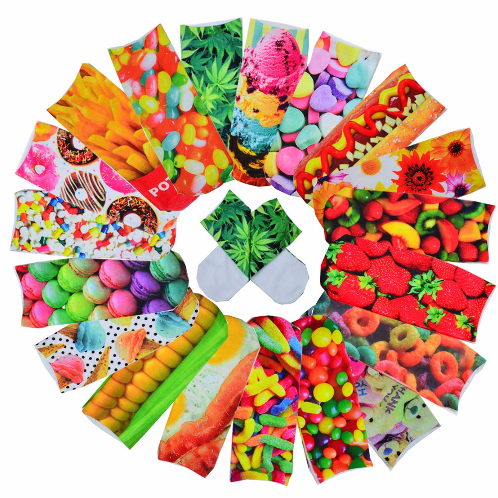 3D Cute Candy Foods&Flowers Printed Socks Multiple Colors Boys&Girls Socks Unisex Cotton Ankle Socks