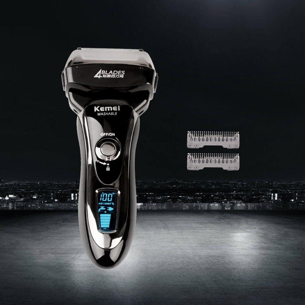 Для мужчин профессиональной электробритва всего тела моющийся поршневые Перезаряжаемые бритва триммер для бороды лицо бритья ЖК-дисплей Д...