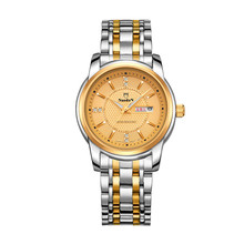 Full Steel Watch Gold Quartz Relogio Masculino Nuodun Men WristWatch Fashion Stainless Steel Quartz Automatic Calendar