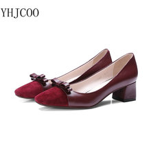 Elegant Shallow Mouth Square Heel Stitching Cow Leather Medium Heel Height Women's Pumps Women Genuine Leather Shoes Size 34-40