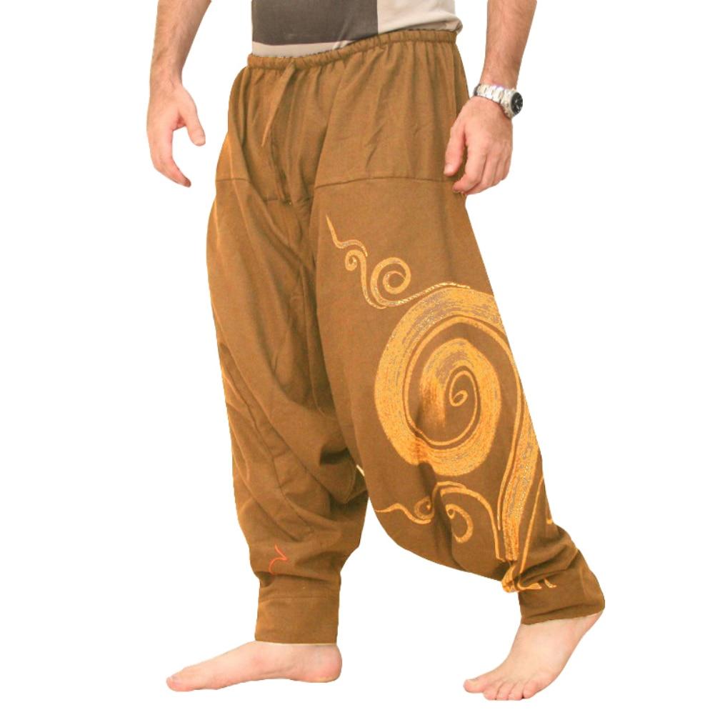 Mens Cotton Harem Pants Baggy Aladdin Alibaba Hippie Festival Wide Leg Trousers  Pants