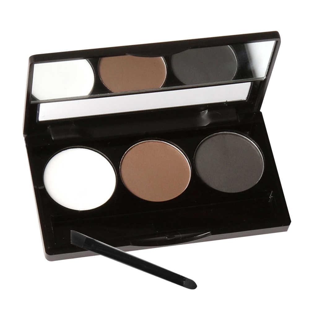 Kit d'ombrage cosmétique de Palette de sourcils d'oeil de poudre de sourcil de 3 couleurs avec la brosse de cire
