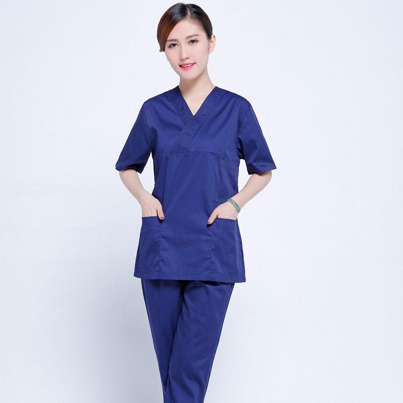 Women s V neck Nurse Uniform Hospital Medical Scrub Set Clothes Short Sleeve Surgical Scrub suit